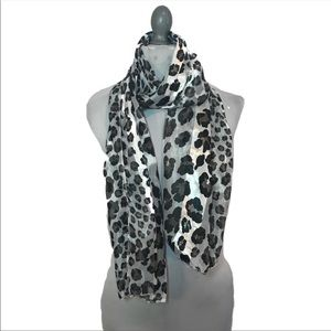 Silver black gray leopard cheetah print scarf B1